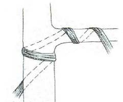 Ligature d'une branche avec ancrage sur le tronc